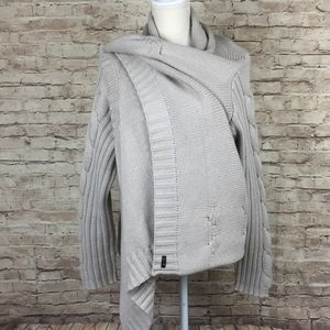 XL Seven7 chunky cardigan sweater beige open front